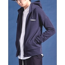 high-necked hoody linear pocket jersey zipper jacket